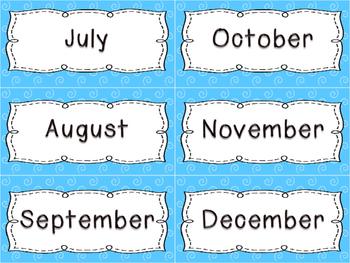 Calendar Set { blue swirls }