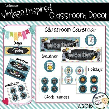 Classroom Decor Calendar, Holidays,Clocks & Weather too Burlap & Vintage Wood