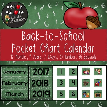Calendar Set for Pocket Chart - Back-to-School Decor