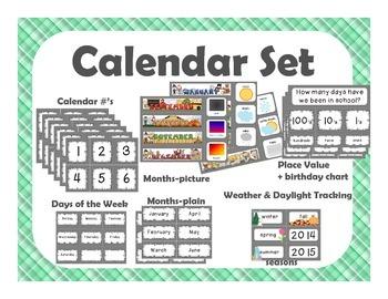 Calendar Set {green plaid}