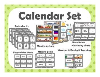 Calendar Set {green with green polka dots}