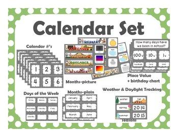 Calendar Set {green with white polka dots}