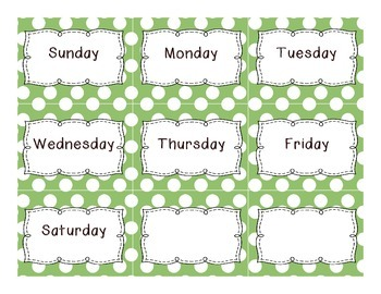 Calendar Set {green with white polka dots}