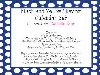 Calendar Set in Black and Yellow Chevron
