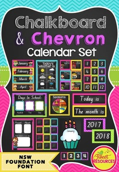Calendar Set in Chalkboard and Chevron (NSW Foundation Font)