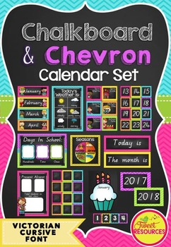 Calendar Set in Chalkboard and Chevron (Victorian Cursive Font)