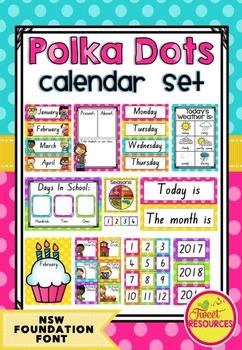 Calendar Set in Polka Dots (NSW Foundation Font)