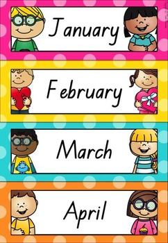 Calendar Set in Polka Dots (Queensland Beginners Font)