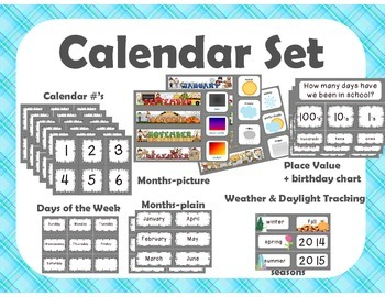 Calendar Set {teal plaid}