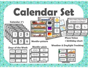 Calendar Set { teal tiny dots }