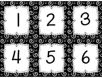 Calendar Set { white swirls on black }