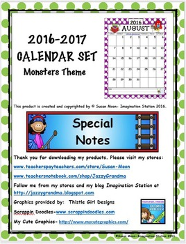2016-2017 Calendar Set with Monster Theme