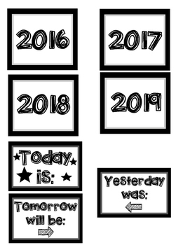 Calendar Set with Monthly Headers, Days, Numbers, Years, & More!