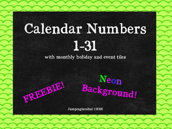 Calendar Set with Neon Background