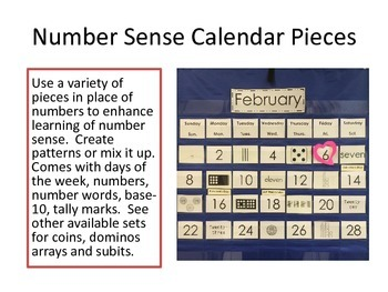 Calendar Set with Number sense
