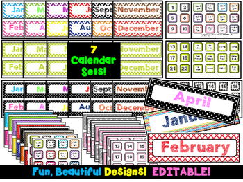Calendar Sets {SEVEN Designs} EDITABLE!