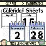 Calendar Sheets Clip Art (BUNDLE) : Blue Swirl
