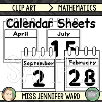 Calendar Sheets Clip Art (BUNDLE) : Blue Swirl