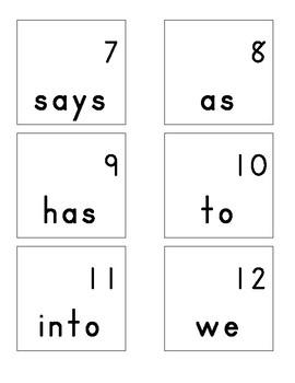 Calendar Sight Words