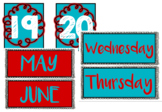 Calendar Signs Bundle - Red and Turquoise