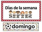 Calendar Math in Spanish. Soccer theme.
