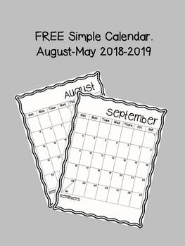Calendar Simple Free by ThirdGradeDonut   Teachers Pay Teachers
