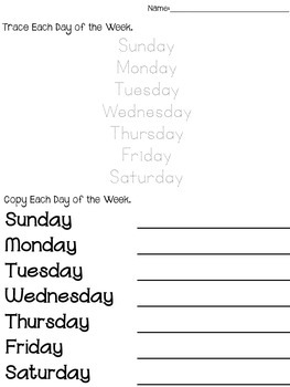 Calendar Skills Practice Pages