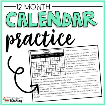 Calendar Skills Worksheet Practice