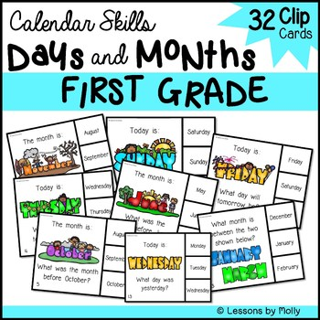 Calendar Skills for Days of the Week and Months of the Year 1st Grade Clip Cards