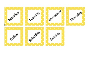 Calendar Small Days of Week in Polka Dot Theme in 11 colors