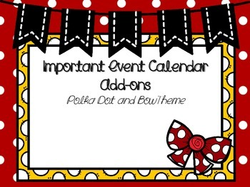 Polka Dots and Bows Calendar Special Dates