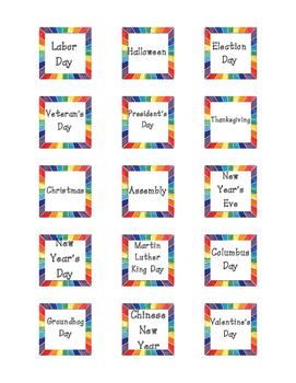 Calendar Special Event Cards