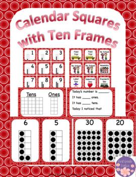 August/September Calendar Square Set With Ten Frames That Encourage Math Talk