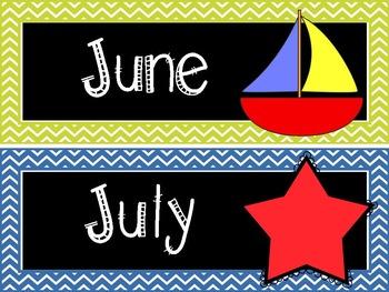 Calendar Starter Kit in Rainbow Chevron and Scribble Frames