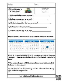 Calendar Story Problems in ENGLISH and SPANISH :)