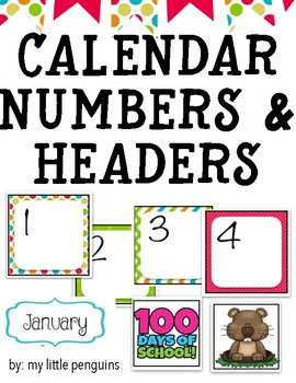 Calendar Stripe and Dot Numbers and Headers