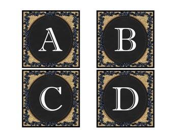 Calendar, Subject Headers, Alphabet, Chalkboard, Blue Jean & Burlap