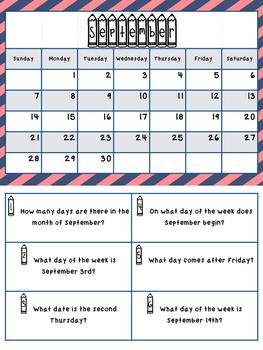 Calendar Task Cards
