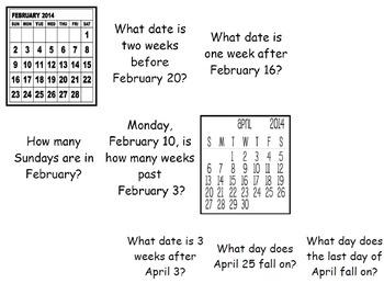 Calendar Task Cards - VA Math SOL 3.12 & 2.13