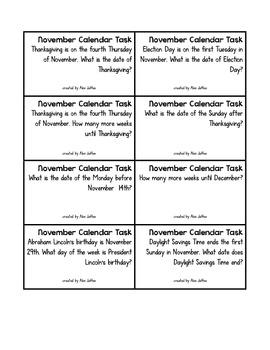 Calendar Tasks for November