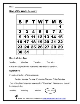 Calendar Teacher Worksheet Pack - Days of the Week, Monthl