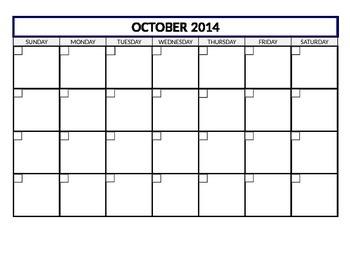 Calendar Template 2014-15