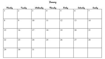 Calendar Template 2018