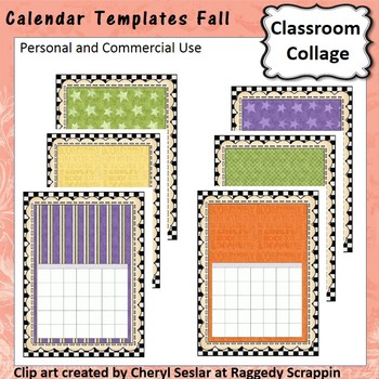 Calendar Template Fall personal & commercial use C Seslar