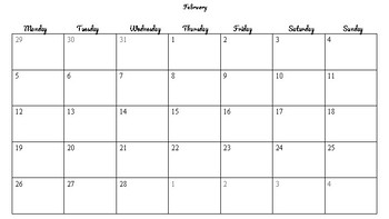 2018 Calendar Template ( Printable)