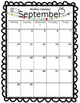 Calendar Template for September