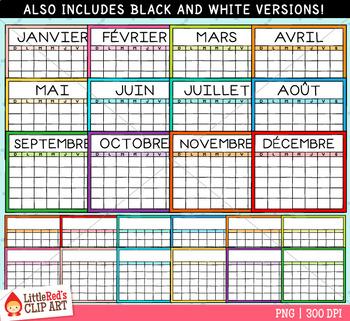 Calendar Templates Clip Art - French