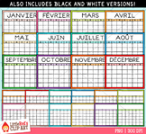 Calendar Templates Clip Art - French