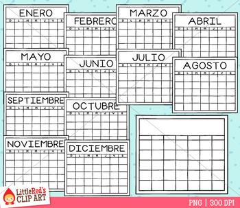 Calendar Templates Clip Art - Spanish