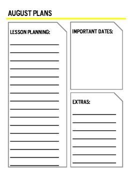 Calendar Templates with Planning Sheet